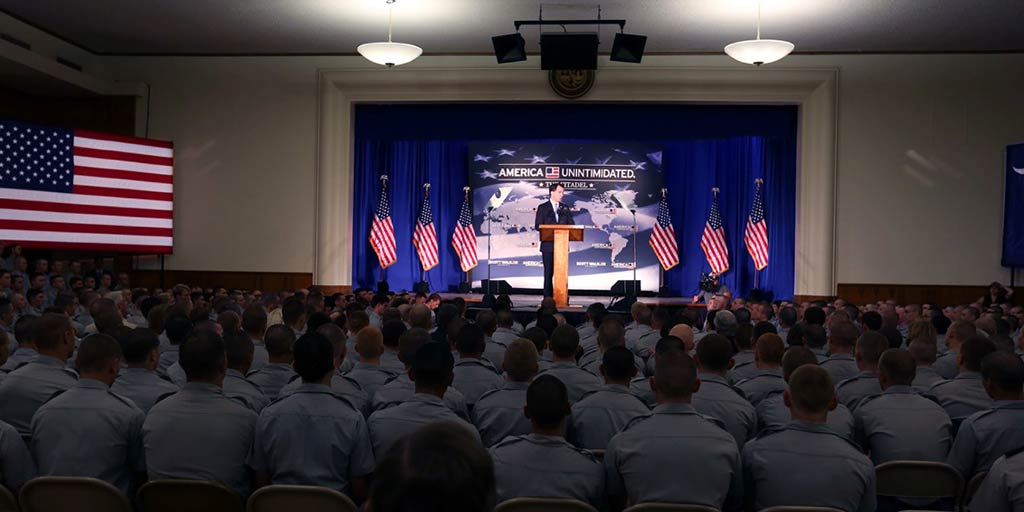 Scott Walker at The Citadel giving his speech on Foreign Policy