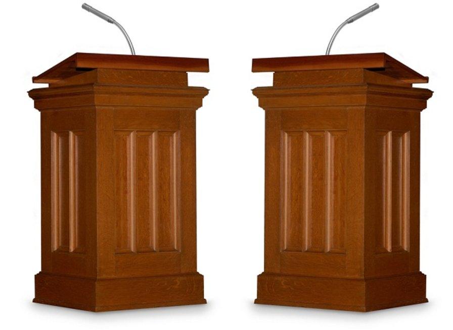 empty podium for debate