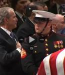GWBush salutes casket of GHW Bush, National Cathedral